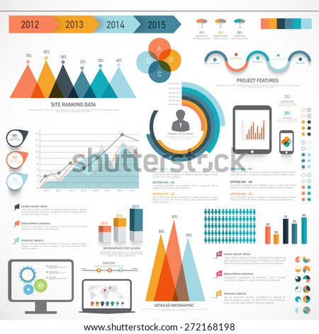 A big set of Business Infographics elements with different statistical graphs and charts to present your data effectively. - stock vector