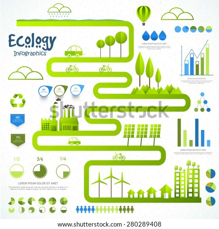 A big set of ecology infographic elements with city view and various statistical graphs and charts. - stock vector