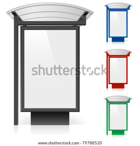 A billboard at a bus stop in different colors. Illustration on white background - stock vector