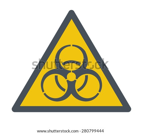 A Biohazard symbol. A Contemporary style. Vector flat design illustration isolated white background. Square layout - stock vector