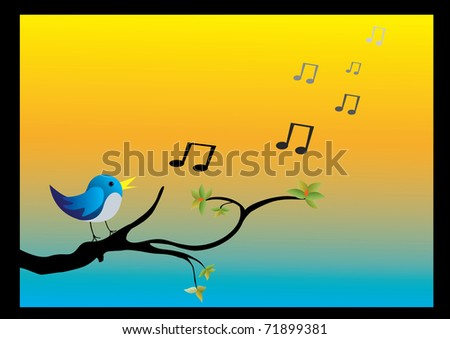 a bird on a branch singing with orange and blue background