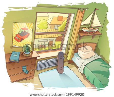 A bit messy room of a young boy. There are a skateboard near the window and the BMX bicycle outside on a backyard.  - stock vector