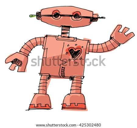 a bit wired cute robot - cartoon - stock vector