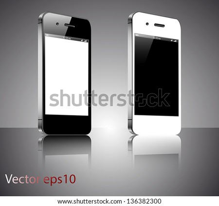 A black and a white realistic vector smartphones isolated on a grey background - stock vector