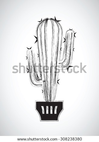 a black and white cactus - stock vector