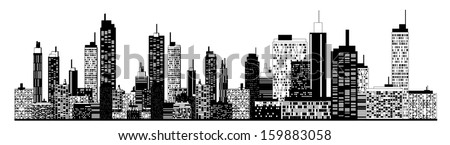 A black and white illustration of city skyline. - stock vector