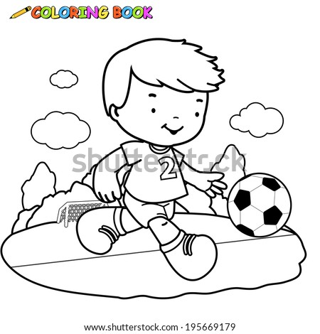 A Black And White Outline Image Of Boy Playing Soccer Coloring Book Page