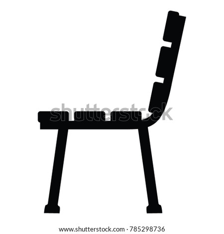 A Black And White Side View Silhouette Of Bench