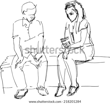 a black and white sketch of man and woman on a bench b - stock vector