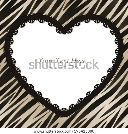 A black and white zebra striped frame with a dark lace trim. Eps 10 Vector. - stock vector