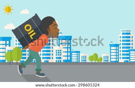 A black businessman walking while carrying a heavy barrel of oil for delivery. A Contemporary style with pastel palette, soft blue tinted background with desaturated clouds. Vector flat design - stock vector