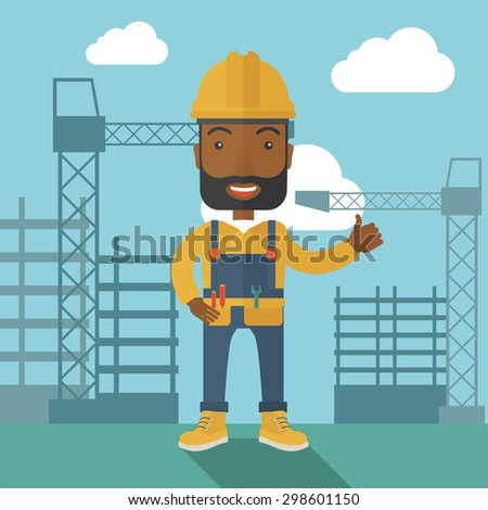 A black construction worker standing with crane tower background. A Contemporary style with pastel palette, soft blue tinted background with desaturated clouds. Vector flat design illustration. Square - stock vector