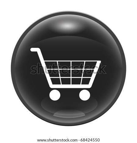 A black glossy web icon with a trolley