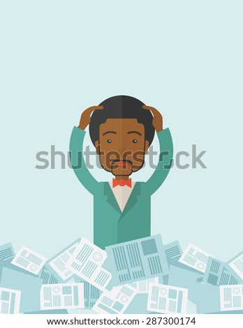 A black guy employee has a lot to do work with those papers around him and having a problem on how to meet the deadline of his report. Disappointment Concept. A contemporary style with pastel palette - stock vector
