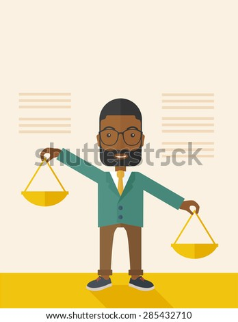A black holding a Weighing scale inclined to the other side. Balancing concept. . A Contemporary style with pastel palette, soft beige tinted background. Vector flat design illustration. vertical - stock vector