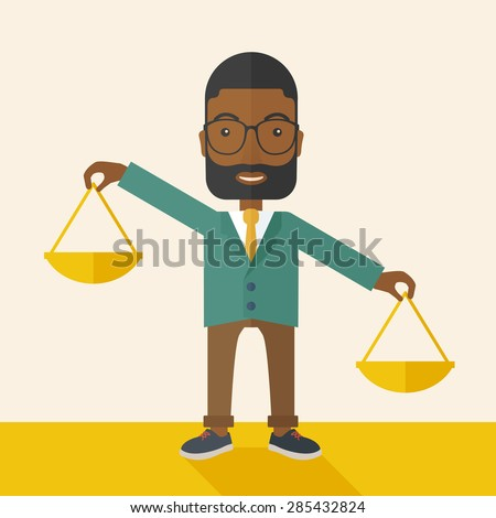 A black holding a Weighing scale inclined to the other side. Balancing concept. A Contemporary style with pastel palette, soft beige tinted background. Vector flat design illustration. Square layout. - stock vector