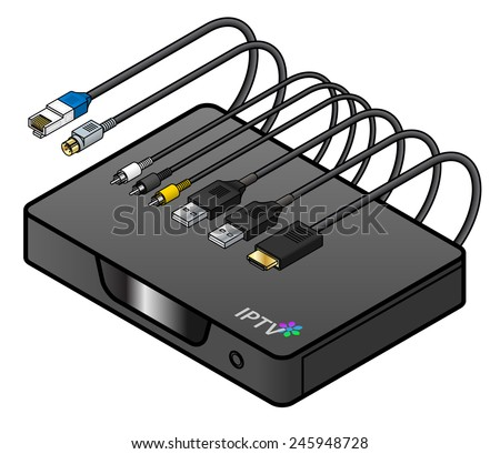 A black IPTV set top box or integrated receiver decoder with cables and connectors. - stock vector