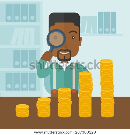 A black man looking his growing business in financial crisis concept. Economy and money, coin and success. A contemporary style with pastel palette soft blue tinted background. Vector flat design - stock vector