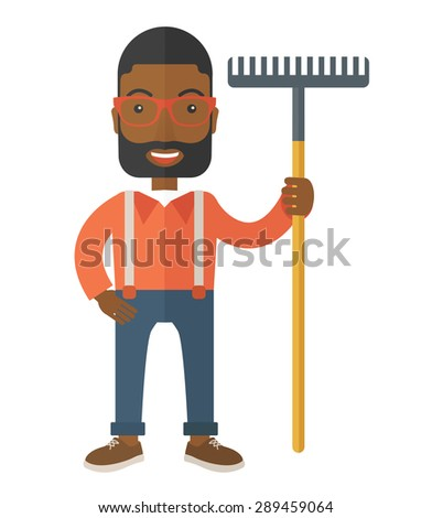A black man standing holding a rake ready for gardening. A Contemporary style. Vector flat design illustration isolated white background. Vertical layout. - stock vector