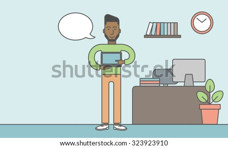 A black man standing in office and pointing at the laptop. Vector line design illustration. Horizontal layout with a text space. - stock vector