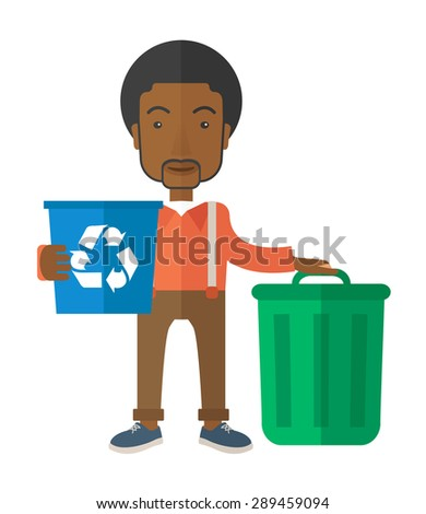 A black man standing outside the house sorting a trash and will throw to the garbage bin. Eco-friendly. A Contemporary style. Vector flat design illustration isolated white background. Vertical layout - stock vector