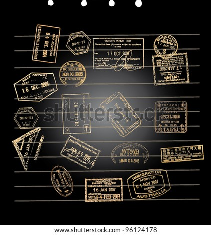 A black note paper with golden visa stamps - stock vector