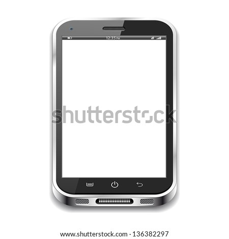 A black realistic vector smartphone isolated on a white background