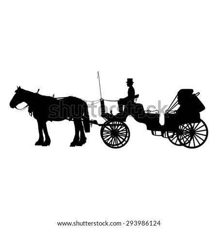 A black silhouette of a horse and buggy or carriage - stock vector