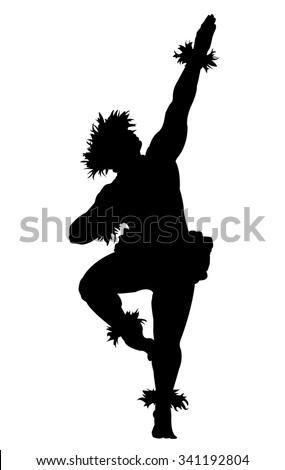 A black silhouette of a male Hula dancer on a white background - stock vector