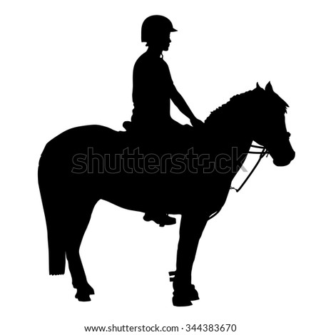 A black silhouette of a pony and rider that participate in mounted games and other equestrian sports - stock vector
