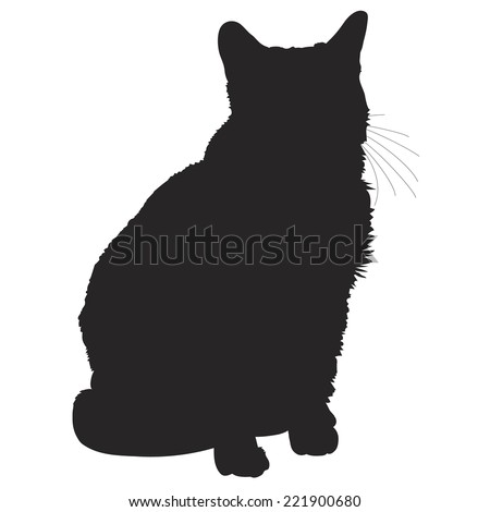 A black silhouette of a sitting cat - stock vector