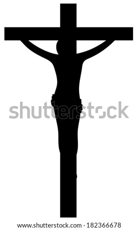 A black silhouette of Jesus Christ on the cross. - stock vector
