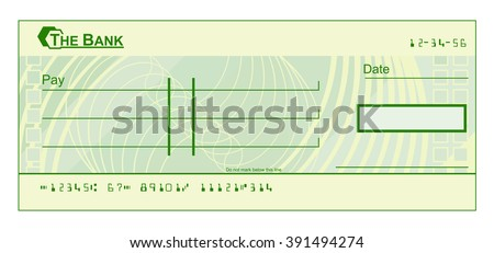 A blank cheque check template illustration - stock vector