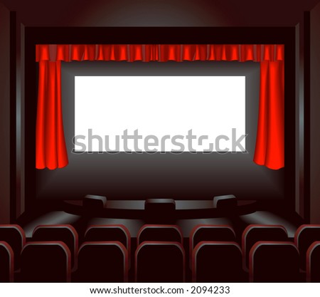 a blank cinema screen lighting up a dark movie theatre for you to place what you like on. Shading by blends not mesh - stock vector