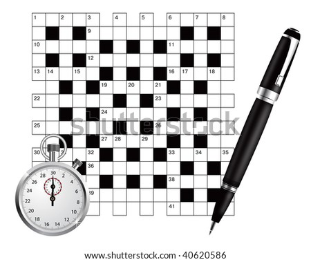 A blank crossword vector  with pen and stopwatch - stock vector