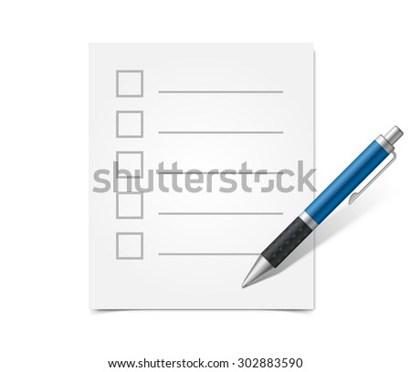 A blank questionnaire and blue ballpoint pen. Realistic vector illustration - stock vector