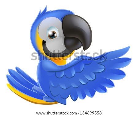 A blue and yellow macaw parrot leaning round a sign or banner and pointing his wing at what is written on it - stock vector
