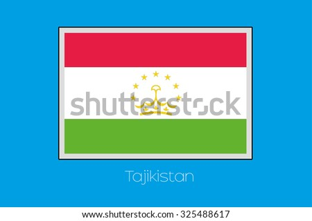 A Blue Background with the Flag of Tajikistan