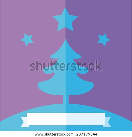 A blue Christmas Tree flat design illustration, under a star on a violet background, with a ribbon for copy space on the bottom. Vector image. - stock vector
