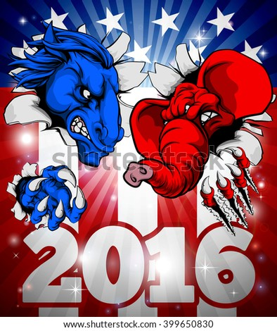 A blue donkey and red elephant tearing through the background. American politics 2016 election concept with animal mascots of the democrat and republican political parties - stock vector