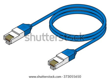 A blue ethernet network cable.  - stock vector
