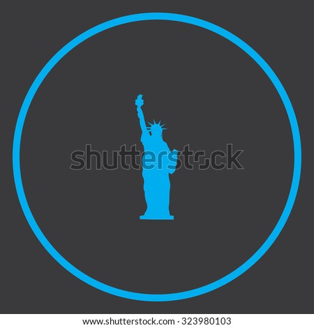 A Blue Icon Isolated on a Grey Background inside a circle - Statue of Liberty