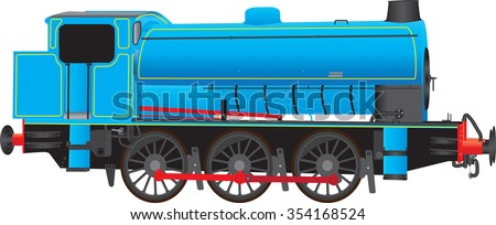 A Blue Industrial Steam Locomotive isolated on white