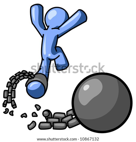 A blue man escaping from a ball and chain, which can be a good concept on breaking from a contract, divorce, or escaping adversity.