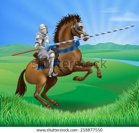 A blue medieval knight in armor riding on horseback on a brown horse holding a jousting lance in green field of grass - stock vector
