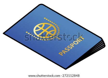 A blue passport with gold lettering and crest. - stock vector