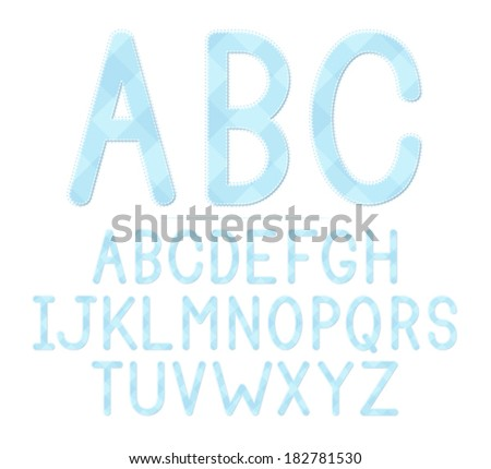 blue plaid baby shower themed font set eps 8 vector