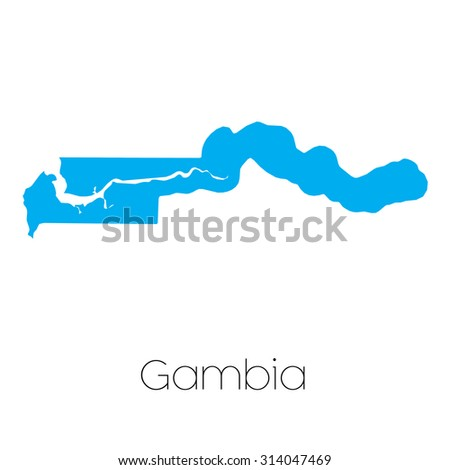 A Blue shape with name of the country of Gambia