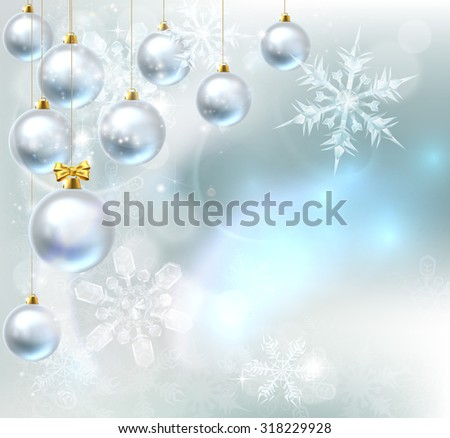 A blue silver abstract snowflakes snow flakes Christmas bauble decoration ornaments festive winter design background. - stock vector