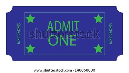 A Blue Ticket. Vector - stock vector